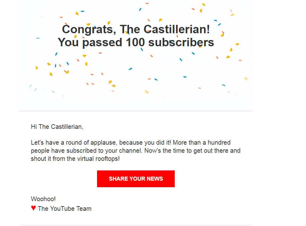 what happens when you get 100 subscribers on youtube