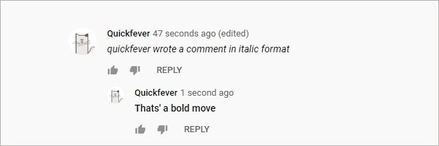 how to italicize on youtube