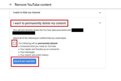 how to delete a youtube channel without logging in